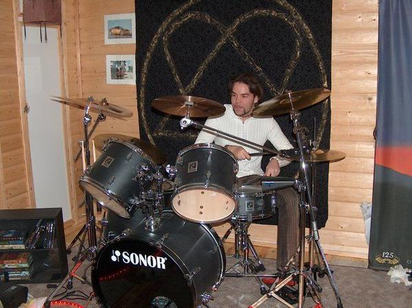 Me with bro's drums in Guitars & Amps by