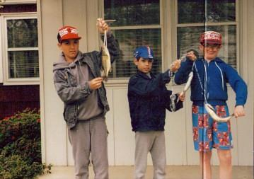 1987 My first Bass Greewitch Lake Gibbstown, NJ. From Left to right  Me, My younger brother Jimmy , and our old friend Tom across the street in Fishing Pictures by 