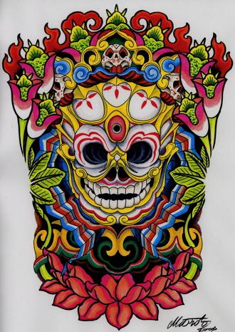 Tibetan Mask Tattoo - LiLz.eu - Tattoo DE